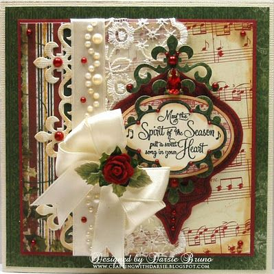 Using Spellbinders Heirloom Ornament, Fleur de Lis Accents and JustRite Stamps
