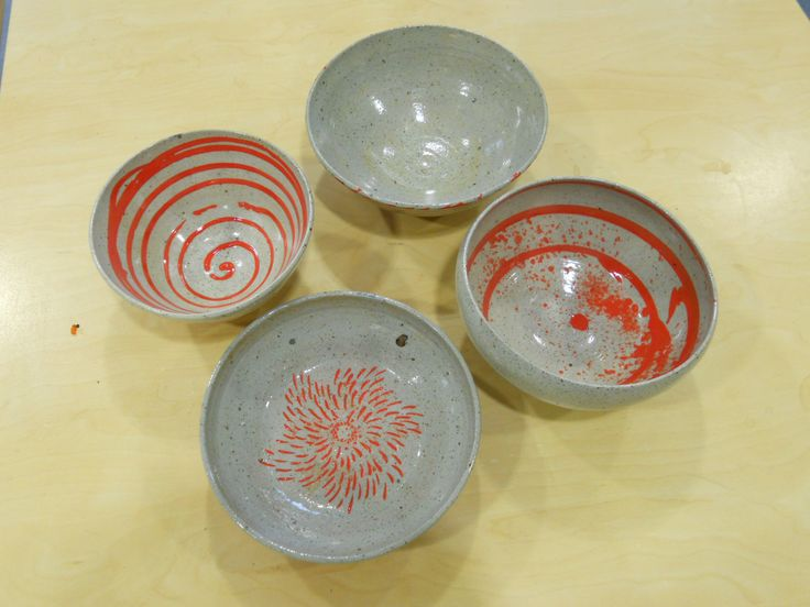 Stoneware Cone 10 + red slips bowls by Janine Flew
