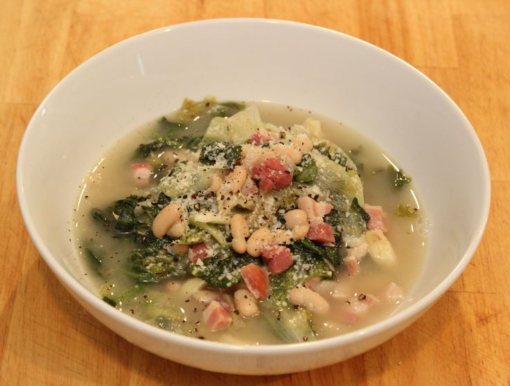 recipe image  Escarole with Beans and Pancetta.  Cooking with Nonna