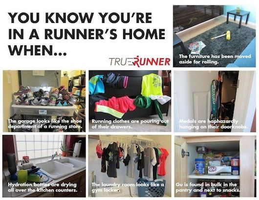 A funny running picture showing some of the strange things that occur in a runner's home.