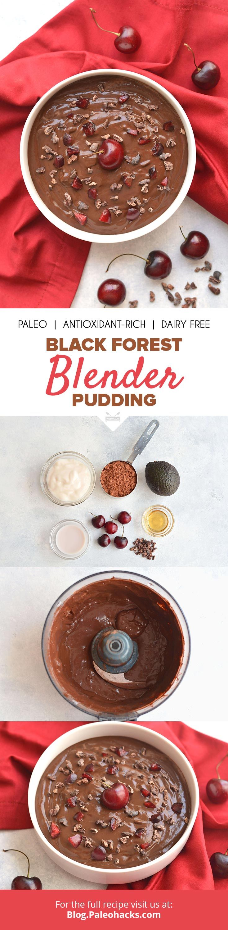 Luscious and creamy, this Black Forest Pudding gets topped with cherries and cacao nibs for a German-inspired dessert. Get the full recipe here: http://paleo.co/blackforestpudding