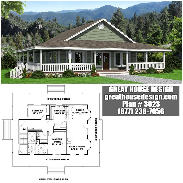 Country home with wrap around porch plan 3623 toll free for Standard house plans free