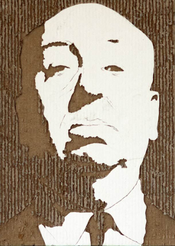 Cardboard portrait of Alfred Hitchcock by Giles Oldershaw | via @Bitrebels
