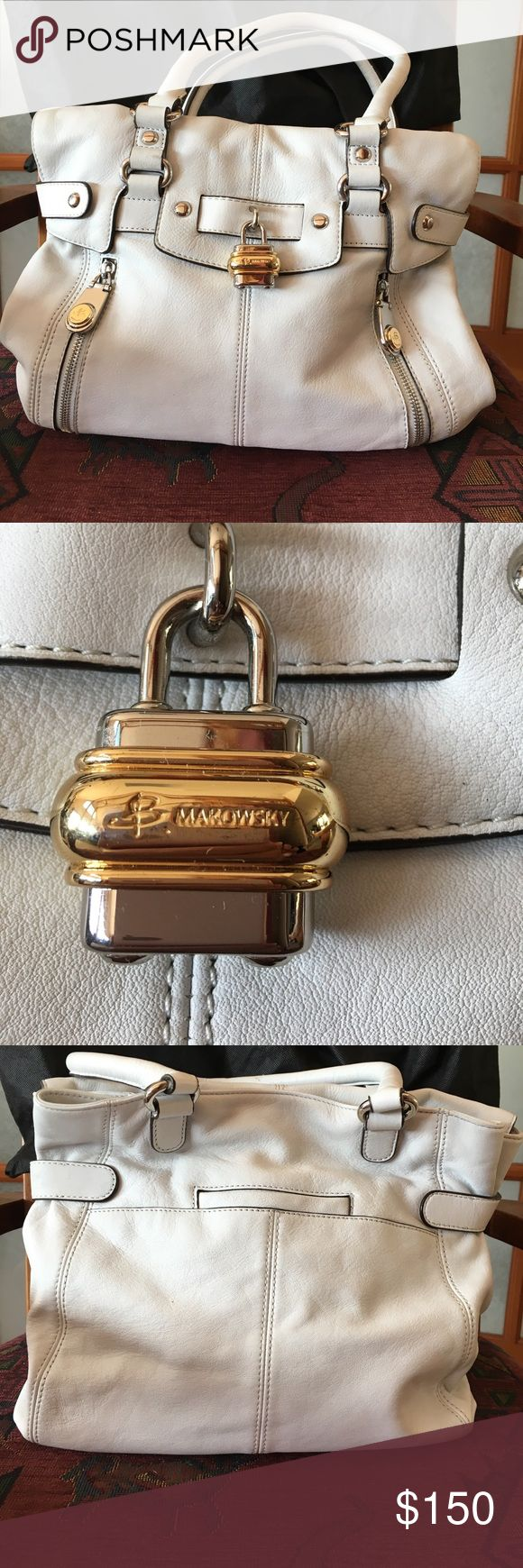 B, MAKOWSKY LEATHER HANDBAG B Makowsky cream colored leather bag, with all the bells and whistles. Small wear on strap as shown in pic. b. makowsky Bags Shoulder Bags