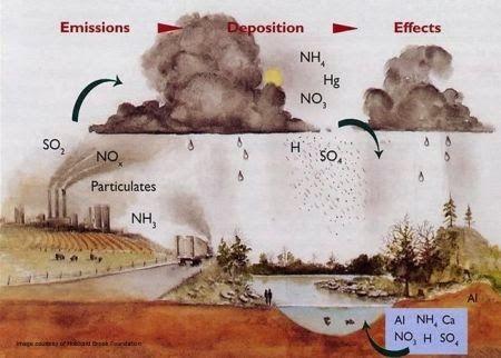 Gambar proses terjadinya hujan asam
