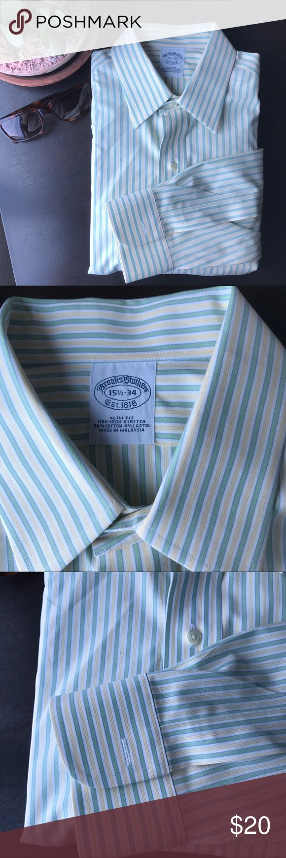 {Brooks Brothers} Slim Fit Dress Shirt A light green and yellow striped shirt in Brooks Brothers slim fit, featuring front chest pocket & rounded cuffs. Brooks Brothers Shirts Dress Shirts