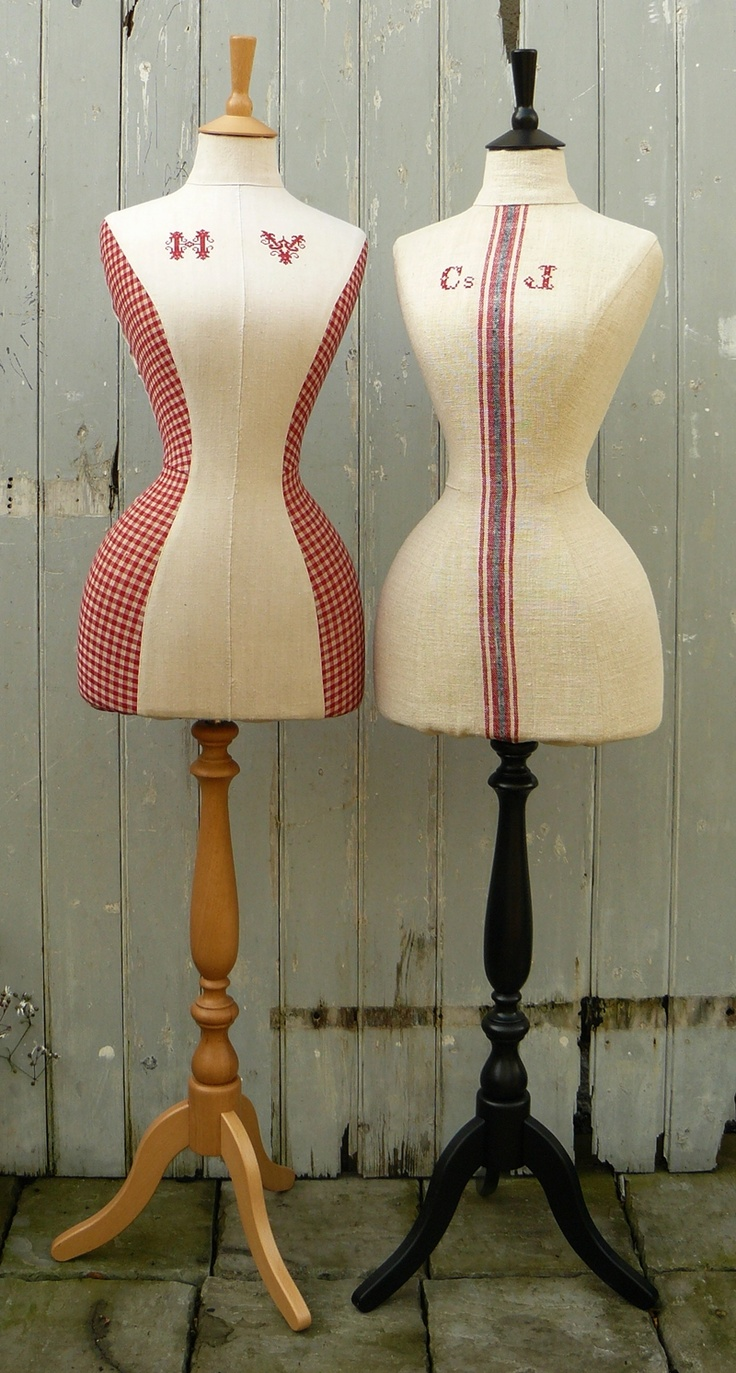 wasp waisted mannequins tailored in vintage monogrammed linens