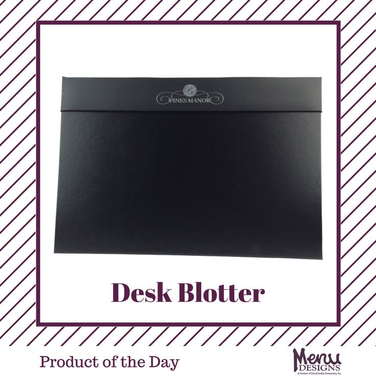 Product of the Day: Desk Blotter.Available in various sizes and colors, our desk blotters are the perfect complement to any guest or conference room. Desk blotters provide protection for your desktop and also are an attractive writing surface. #menudesigns #hotel #inroom #guestroom #conferences