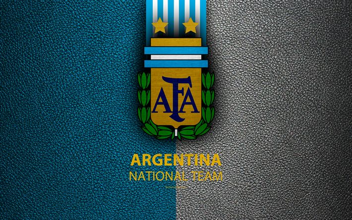 Download wallpapers Argentina national football team, 4k, leather texture, emblem, logo, coat of arms, football, Argentina