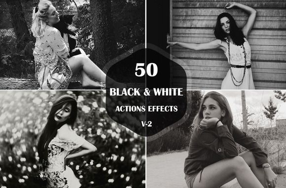 Check out 50 Black & White Photoshop Actions by Symufa on Creative Market