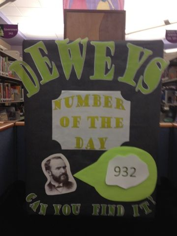 What a neat idea!  Dewey's Number Of The Day Students find Melville out on the shelves, explore the books around him, then jot down what they think that Dewey number means.  Prizes?  Extra checkout?