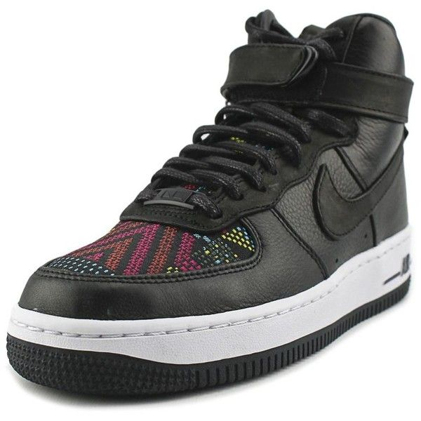 Nike Nike Air Force 1 High Bhm S Women Round Toe Leather Black... (640 NOK) ❤ liked on Polyvore featuring shoes, sneakers, black, leather sneakers, leather trainers, nike shoes, black trainers and nike