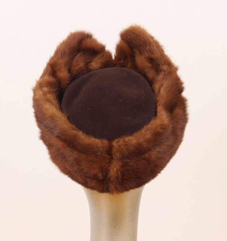 1940's Pompador Style Mink & Wool Merrimac Hat | From a collection of rare vintage hats at https://www.1stdibs.com/fashion/accessories/hats/