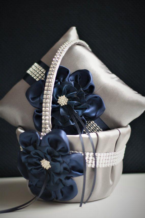 Gris marina boda cesta Marina anillo portador almohada