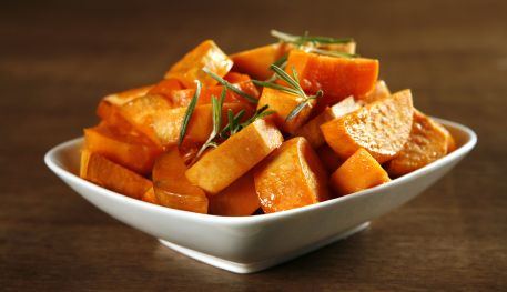 Roasted Sweet Potatoes are a sweet side dish for lean mains like pork or skinless chicken. http://www.becel.ca/en/becel/HeartHealthyRecipes/Side-Dishes/Roasted-Sweet-Potatoes-with-Apples.aspx