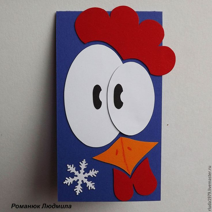 """Купить Новогодняя открытка """"Красный гребешок"""" - Открытка ручной работы, романюк людмила"""