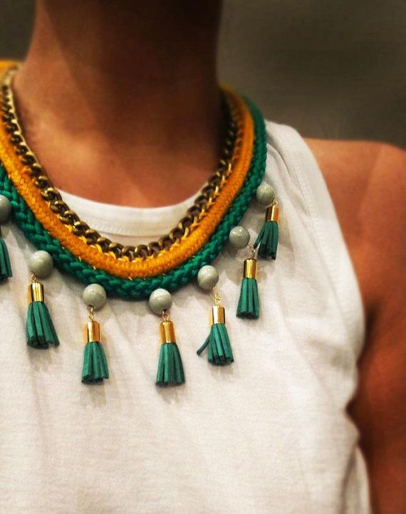 Rope statement necklace with suede tassels by Beh1ndByMK on Etsy