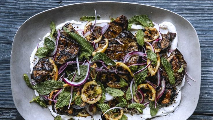 Grilled Eggplant and Lemons with Garlic Labneh | Bon Appetit