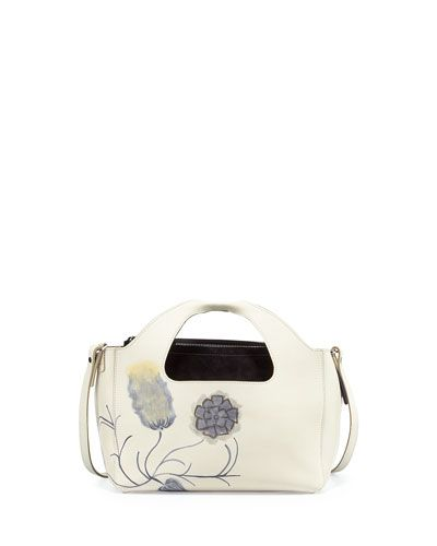 V2WRN THE ROW Two for One 10th Floral Tote Bag, White Multi