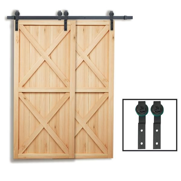 6 6 Ft Single Track Bypass Double Barn Door Hardware Black One Piece Rail Sliding Barn Door Hardware Barn Hardware Door Hardware