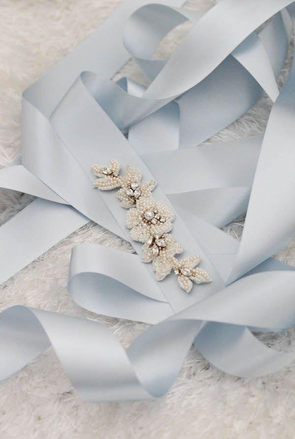 "Powder Blue | A ""Something Blue"" beaded sash belt for bride Morgan"