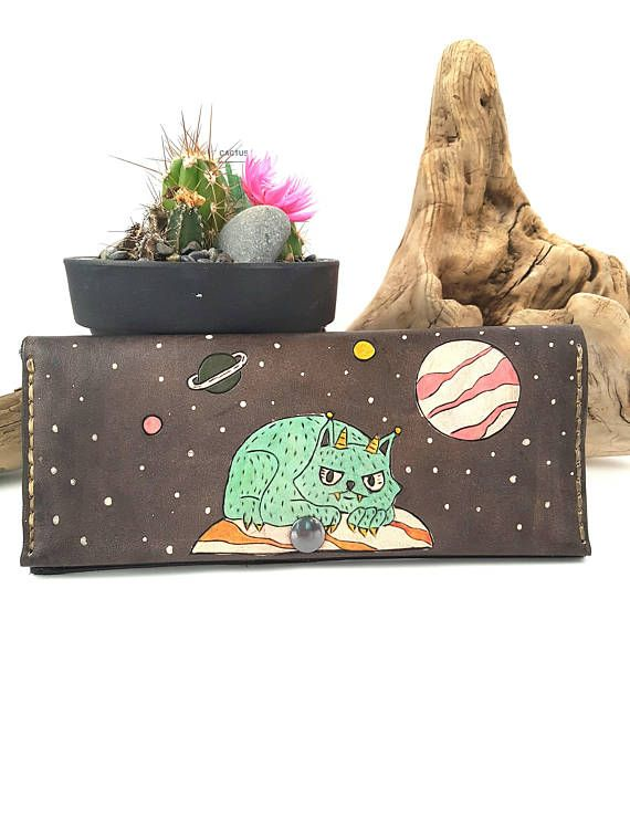 Check out this item in my Etsy shop https://www.etsy.com/ca/listing/567863907/womens-leather-wallet-leather-space-cat