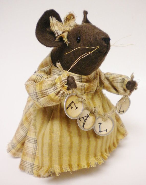 Fall Mouse Primitive Autumn Mice Thanksgiving by PearcesCraftShop