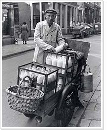 Melkboer, 1953. I remember this from WittedeWithstraat where my Oma en Opa lived. He came up three floors to deliver the milk and cream and scalded milk... That is a memory to cherish.