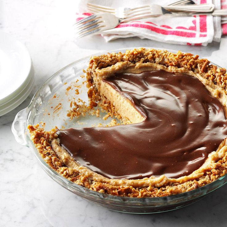 Easy Peanut Butter & Pretzel Pie Recipe -Crispy, salty pretzel crust is just begging for a creamy no-bake peanut butter filling and a layer of chocolate ganache. — Gina Nistico, Taste of Home Food Editor