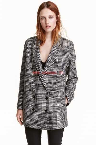 Nero/pied-de-poule Giacca lunga in misto lana da Donna - IT10502