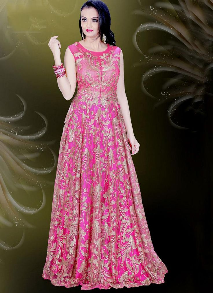 Shop latest style and stay updated in fashion, get the look of diva. Get this glorious net hot pink readymade gown  online. Free shipping world wide.