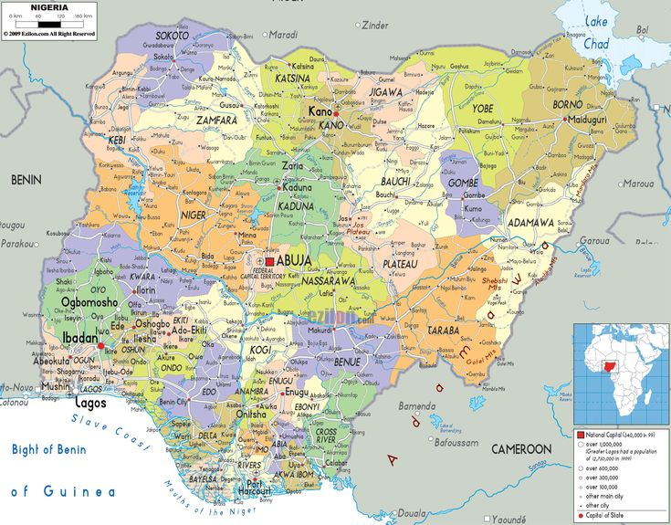 nigeria | The Federal Republic of Nigeria Map - Political Map of Nigeria