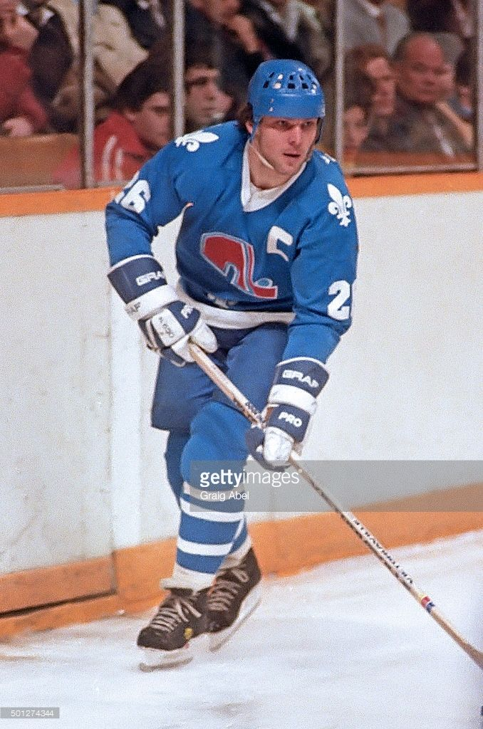 Peter Stastny #26 of the Quebec Nordiques controls the puck against the Toronto Maple Leafs at Maple Leaf Gardens in Toronto, Ontario, Canada on March 17, 1982.