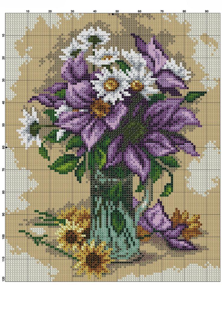 Vazoda Çiçek Kanaviçe Örnekleri (2)