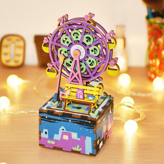 Ferris Wheel DIY wooden music box Assembly craft toy