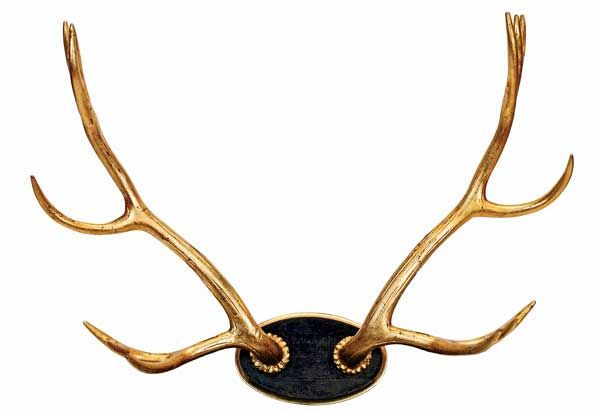 Carved-wood elk antlers covered with 22-carat gold leaf, $900, at Branca.Elegant Rustic, Carvings Wood, Gold Leaf, Gold Antlers, Gold Painting, Deer Antlers, 22K Gold, Elk Antlers, Brass Accessories