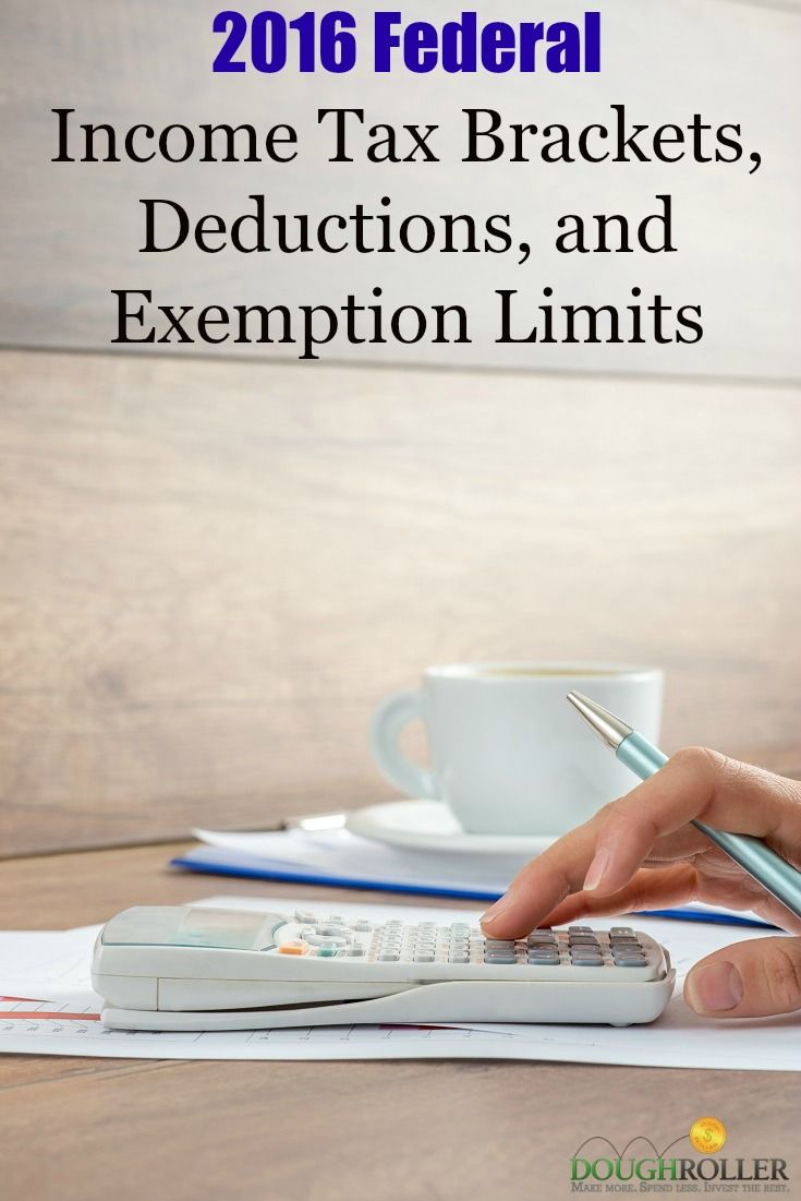 2016 Federal Income Tax Brackets, Deductions, and Exemption Limits