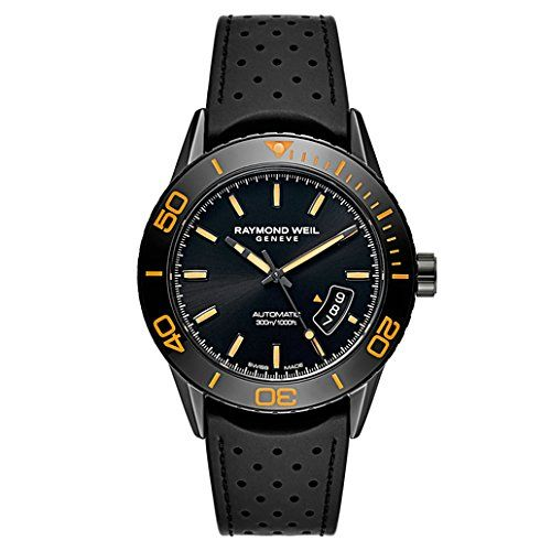 awesome Raymond Weil Men's 'Freelancer' Swiss Automatic Stainless Steel and Rubber Dress Watch, Color:Black (Model: 2760-SB2-20001)