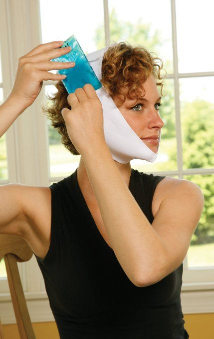 TMJ Soft Stretch Wrap with Chin Cup with 4 Hot & Cold Packs by Cool Jaw