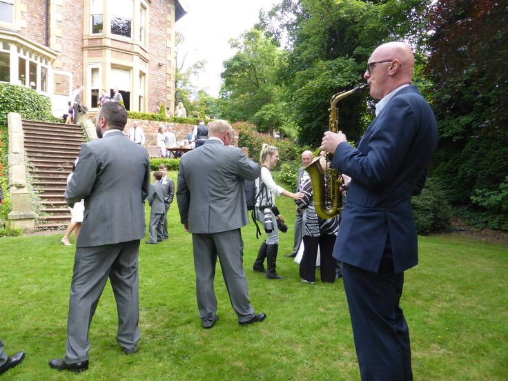 Jump The Q solo sax on the lawn at Eslington Villa in Gateshead. Live music for weddings in the North East & North Yorkshire by Jump The Q. www.jumptheq.info