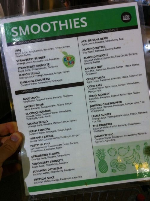 Whole Foods Smoothie Bar Menu