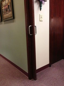 pocket doors with handles - a lot easier to grab onto!