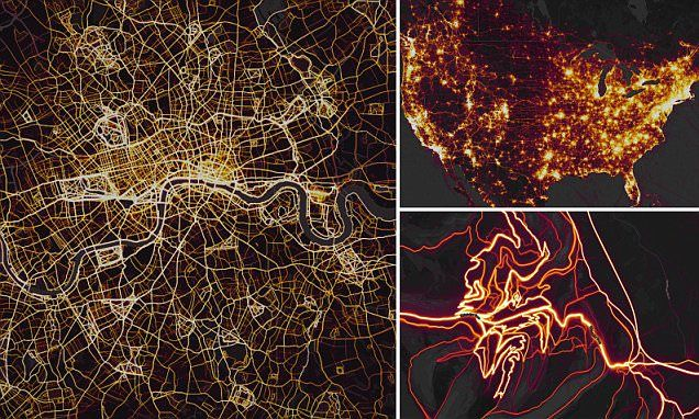 The San Francisco-based app Strava has created a heat map showing over one billion activities across the world. Users can zoom in to an area and then choose what activity they want to focus on.