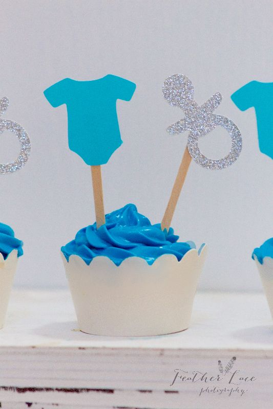 """Baby Shower Cupcake Toppers. Baby Shower Decorations. Baby Boy Shower. Onesie Decorations. Onesie Cupcake Topper. Pacifier Decorations. Pacifier Cupcake Topper. Glitter Baby Shower. Party Supplies. Just click """"VISIT"""" above to be directed to my FB page for ordering."""