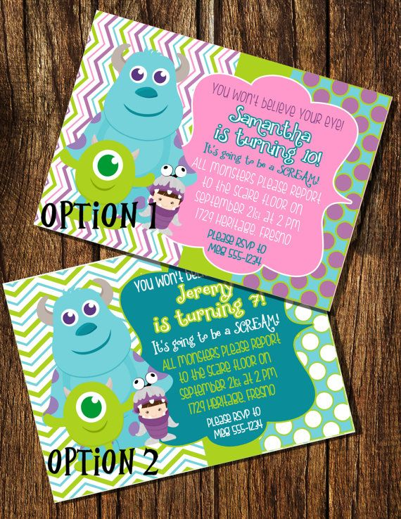 Monsters Inc Inspired Birthday Invitation By Booboobeancreations