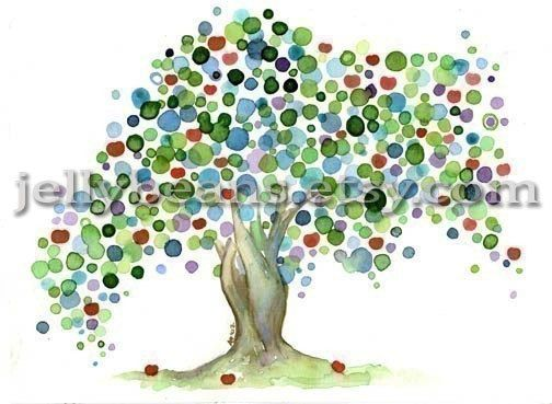 """Apple Tree"" is a print of an original watercolor painting on acid-free matte cardstock.    Curly tree #wood#dekorative#curly,flourish,crisp,wood"
