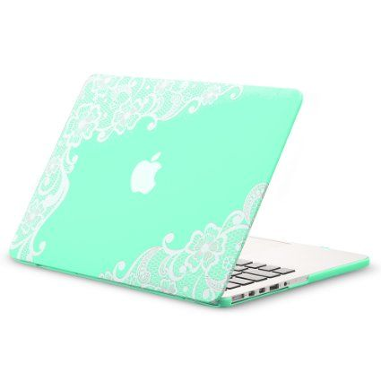 "sooo pretty! Kuzy - Retina 13-inch Lace Mint GREEN Rubberized Hard Case for MacBook Pro 13.3"" with Retina Display A1502 / A1425 (NEWEST VERSION) Shell Cover - Lace Mint Green"