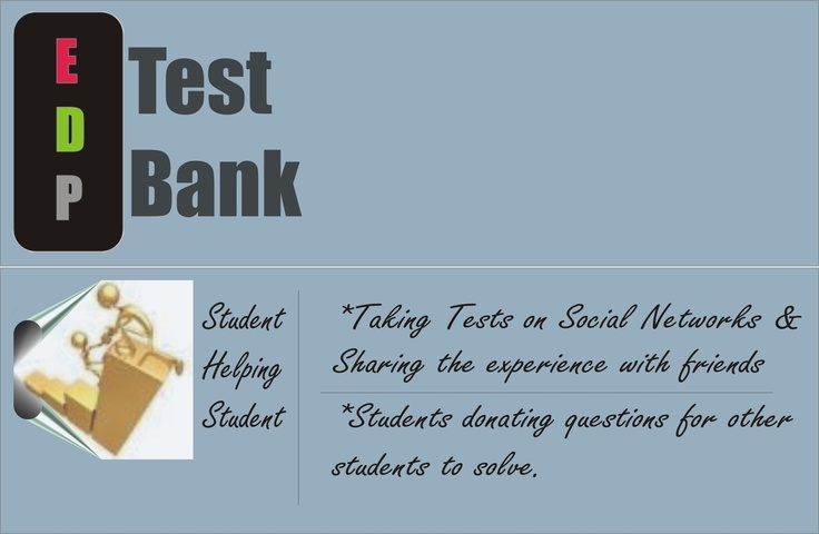 EDP Testbank , a combination of education and social networking . view the testbank here  (1- http://www.facebook.com/pages/GSTS-Test-Bank/201784293193394?sk=app_123618551022584)  (2- http://www.facebook.com/pages/Fijai-Test-Bank/176029742448130?sk=app_123618551022584)  (3- http://www.facebook.com/pages/Tadisco-Test-Bank/123248697749331?sk=app_123618551022584)  (4- http://www.facebook.com/pages/Sekco-Test-Bank/110587132355716?sk=app_123618551022584)