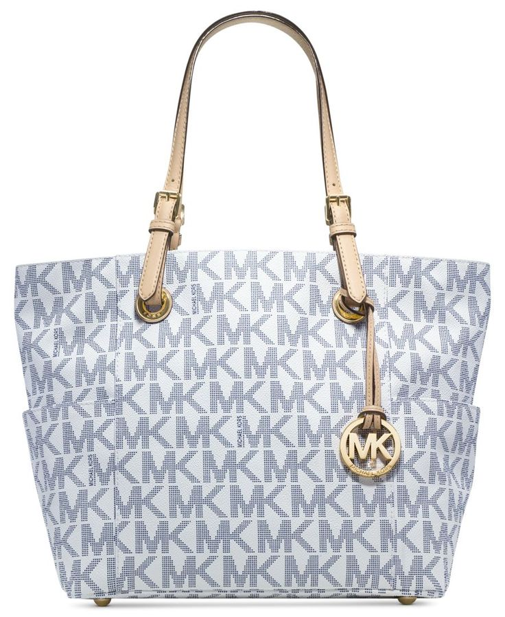 Show your brand loyalty with this logo-splashed Michael Michael Kors tote  that\u0027s poised and