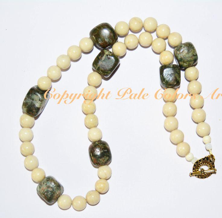 "24"" Chunky Green Jasper Necklace,Fossil Stone Bead Necklace,Neutral Necklace, 24 Inch Necklace, 10mm Fossil Bead Necklace, Jasper Cube Beads"
